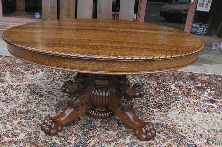 Quartersawn Oak Lion Headed Claw Foot Dining Table