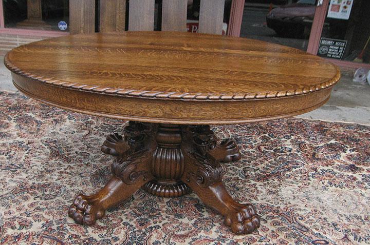 Quartersawn Oak Lion Headed Claw Foot Dining Table : 6 12 8a from www.bradfordsantiques.com size 720 x 478 jpeg 171kB
