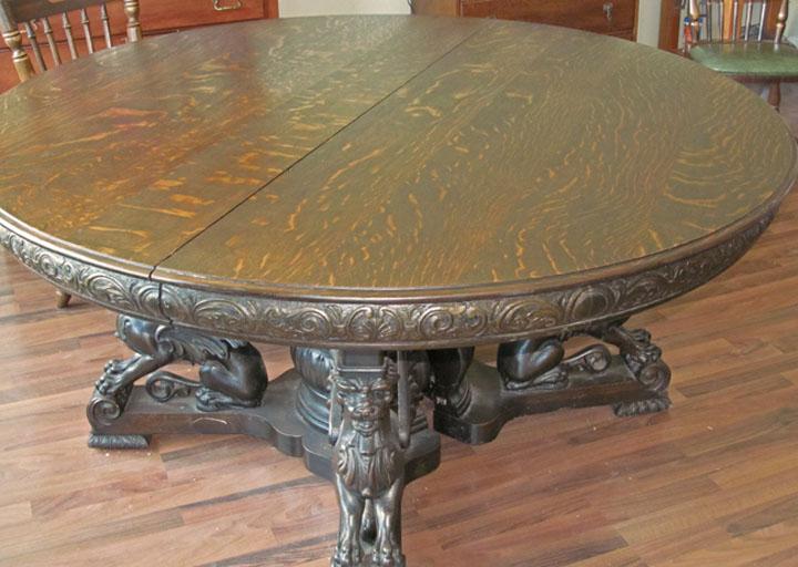 R J Horner Quartersawn Oak Winged Griffin Table