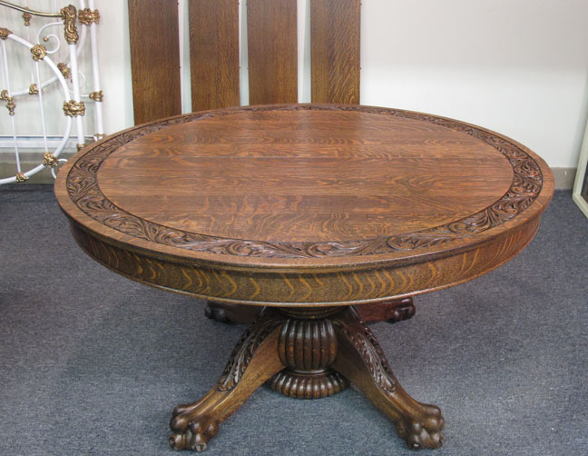 Hastings 54quot Round Quartersawn Oak Dining Table : fo8 25 11aOakRound54InchTble from bradfordsantiques.com size 648 x 502 jpeg 111kB