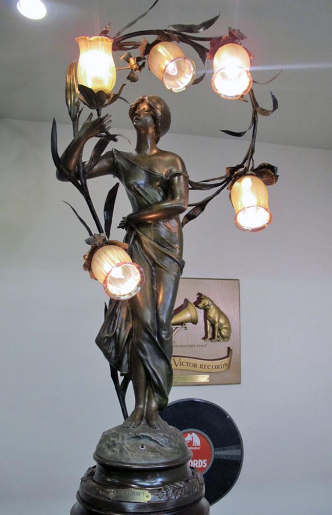 Brossy Signed Art Nouveau Newel Post Lamp Entitled