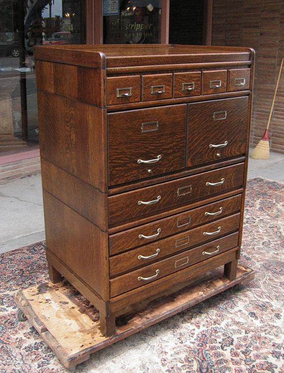 Quartersawn Oak Globe Or Gunn Stacking File Cabinet